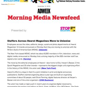 米ハースト、傘下の雑誌で組合結成の動き #メディア #組合
