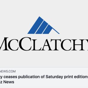 日本の新聞社の紙媒体マンセー信者に悲報! アメリカの新聞チェーンのマクラーチ「傘下の全新聞社の土曜発行を止めまっさ」と宣言 #新聞