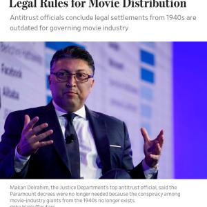 アメリカ司法省、1940年代に制定した映画配給ルール撤廃 #速報 #映画
