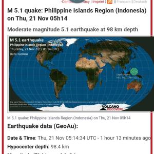 インドネシア沖合のフィリピン海でマグニチュード5.1 #地震 #速報