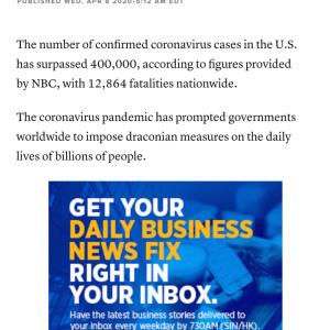 アメリカの新型ウィルス感染者が40万人突破 #速報