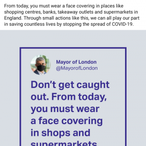 小ネタです。ロンドン市長が「公共の場では私みたいにマスクを」 #新型ウィルス #コロナウィルス