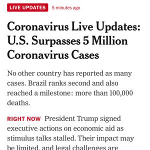 アメリカでの新型ウイルス感染者が500万人超すとニューヨークタイムズが報道 #新型ウィルス #コロナウィルス # 速報