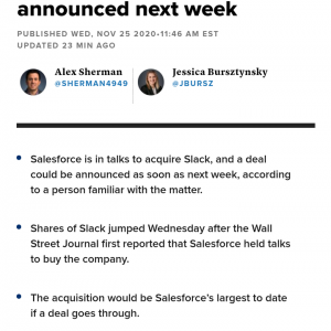 セールスフォース、Slack買収協議、来週にも成立かも #速報