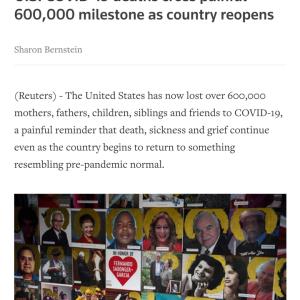 アメリカの新型コロナの死者が60万人を超す #速報