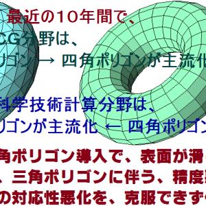 ゲームのCGポリゴンは3角⇒4角主流で絵が綺麗になる一方、技術計算は3角主流で低評価化。