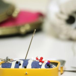 ガマ口6つ縫い付けたら…縫い針は消耗品…