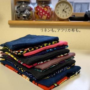 リネンも。アフリカ布も。いつもとパターンを変えて…123ポーチ製作中