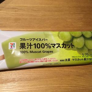 セブンプレミアム『フルーツアイスバー 果汁100%マスカット』を食べていた