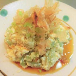 刺身こんにゃくと豆腐の和え物