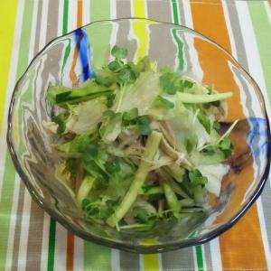 晴れました  鶏ささみとせん切り夏野菜の胡麻酢和え