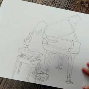 ピアノ練習中に母は画伯