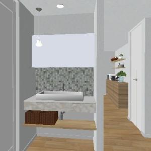 ◆造作洗面カウンターとニューヨーカーグラス