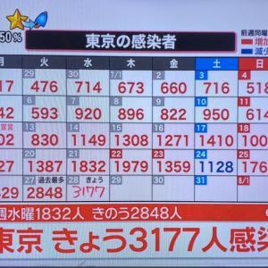 東京都で感染者3,177人!ヽ(=´▽`=)ノ 連日の最多更新!【コロナ禍】
