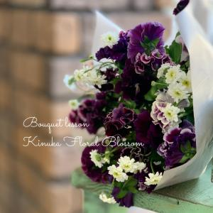 恋する季節の花束コース「早春の花を束ねる」2種のブーケが仕上がり2倍楽しい~♪