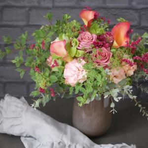 レッスンの残り花で花束を