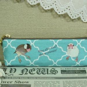 桜文鳥さんと白文鳥さんのペンケース 2種