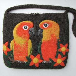 コガネメキシコインコ & ナナイロメキシコインコ 羊毛フェルトバッグ ラージサイズ
