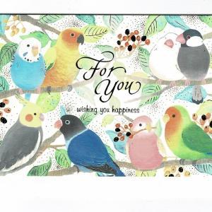 金箔加工のグリーティングカード セキセイインコ コガネメキシコインコ 文鳥 オカメインコ ボタンインコ アキクサインコ コザクラインコ