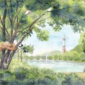 ◆つくば中央公園・噴水とロケット◆