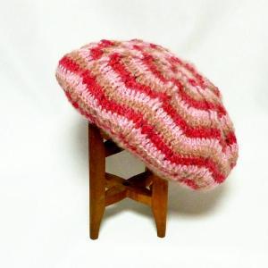 3色モヘアのふっくらベレー帽