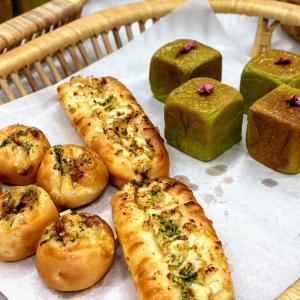 パン単発レッスン☆抹茶のキューブ&お好み焼き風・たこ焼き風パン&ペカンペカン