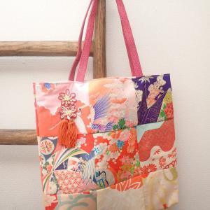 赤系着物リメイク☆飾り紐付き帯締めストラップバッグ