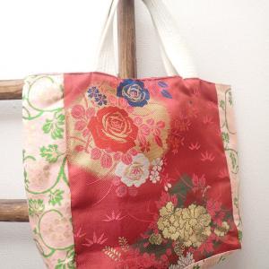 名古屋帯のピンク系トートバッグ