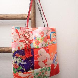 かわいい飾り紐つき着物リメイクバッグ