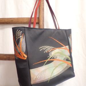 稲穂の刺繍☆名古屋帯リメイクバッグ