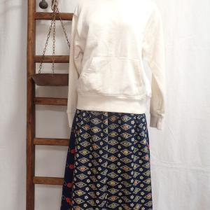 小紋着物のシンプルスカート