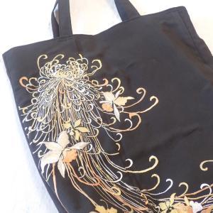シャクナゲ模様の黒留袖エコバッグ