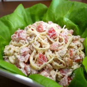 【簡単レシピ】トマトとツナのバジルサラスパ♪