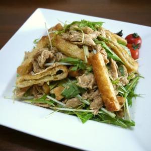 【掲載】くらしのアンテナ(レシピブログ)★鶏ささみの油揚げと水菜のごま和え♪