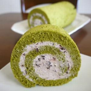【掲載】くらしのアンテナ(レシピブログ)★抹茶のロールケーキ♪あずきクリーム♪