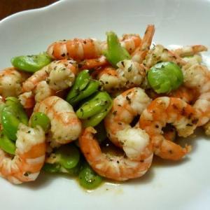 【簡単レシピ】海老とそら豆のハーブソテー♪