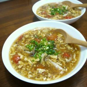 【簡単レシピ】溶き卵の茗荷とミニトマトの中華スープ♪