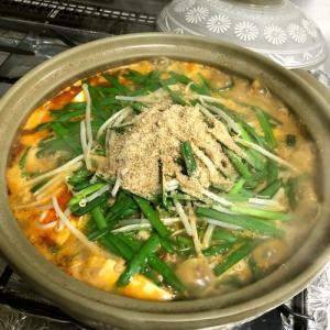 【簡単レシピ】挽肉の2種豆腐と野菜のごま味噌キムチ鍋♪