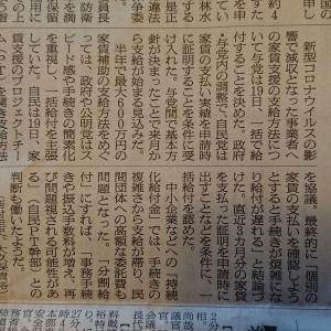 6/20(土) 今朝の朝日新聞『家賃支援 一括給付を決定』