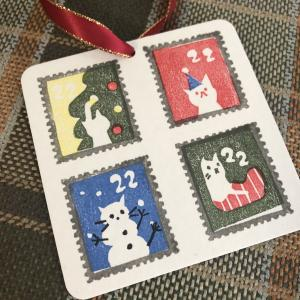 ネコの切手風ハンコでクリスマスand more。