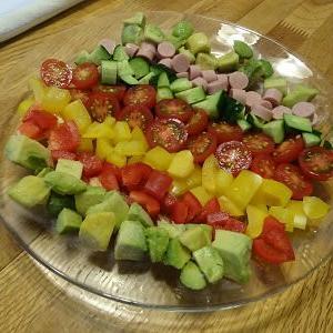 この間の一品!並べただけのいろいろサラダ