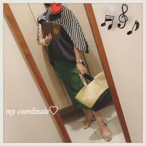 IENAの緑レーススカートに、ミラオーウェンのノースリーブtee×ボーダーで夏コーディネート♡