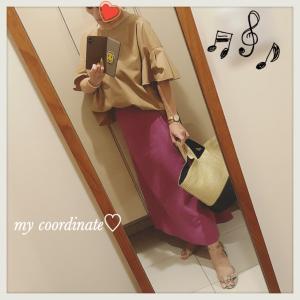 時短コーデに便利な主役級カラースカートを最終夏セールでGET!パープル&ベージュで夏コーデ♡