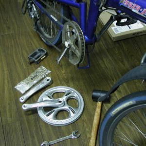 20インチ折り畳み自転車 クランク&チェーンリング交換