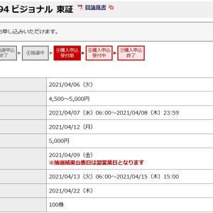 ビジョナル(4194)のIPO(新規上場)補欠当選!