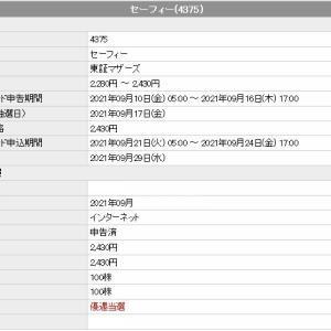セーフィー(4375)のIPO(新規上場)当選!