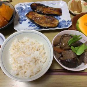 農夫の夕げ 野菜の煮付け 茄子の田楽 北海道産かぼちゃの煮付け 甘い南京豆 パパイヤ ろばたづけ