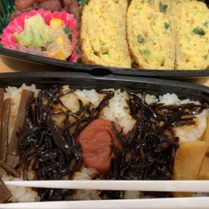 農夫のランチ 蟹入りだし巻き卵 マカロニとブロッコリーのお惣菜 甘納豆 佃煮と梅干し
