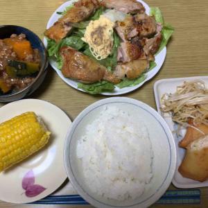 農夫の夕げ 若鶏のモモステーキ かぼちゃのあんかけ 春雨ともやしの炒め物 とうもろこし