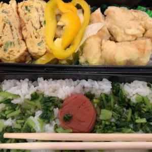 農夫のランチ ネギ入りだし巻き卵 鶏胸肉の天ぷら黄色いパプリカ フジッコのお豆さん 大根のぬきなの漬物をご飯にまぶしました 大好きなんだ
